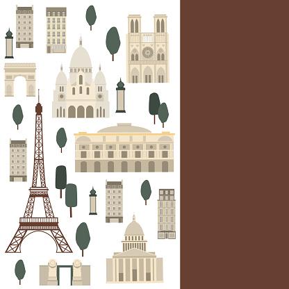 Vector background with Paris landmarks