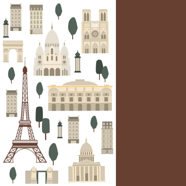 Vector background with Paris landmarks Paris. Vector  background with Paris landmarks international landmark stock illustrations