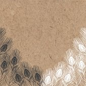 Vector background with peacock feathers on kraft paper.