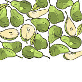 Hand drawn green pears. Vector background.