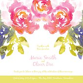 Vector background with pink watercolor bouquet for wedding invitation or flyer