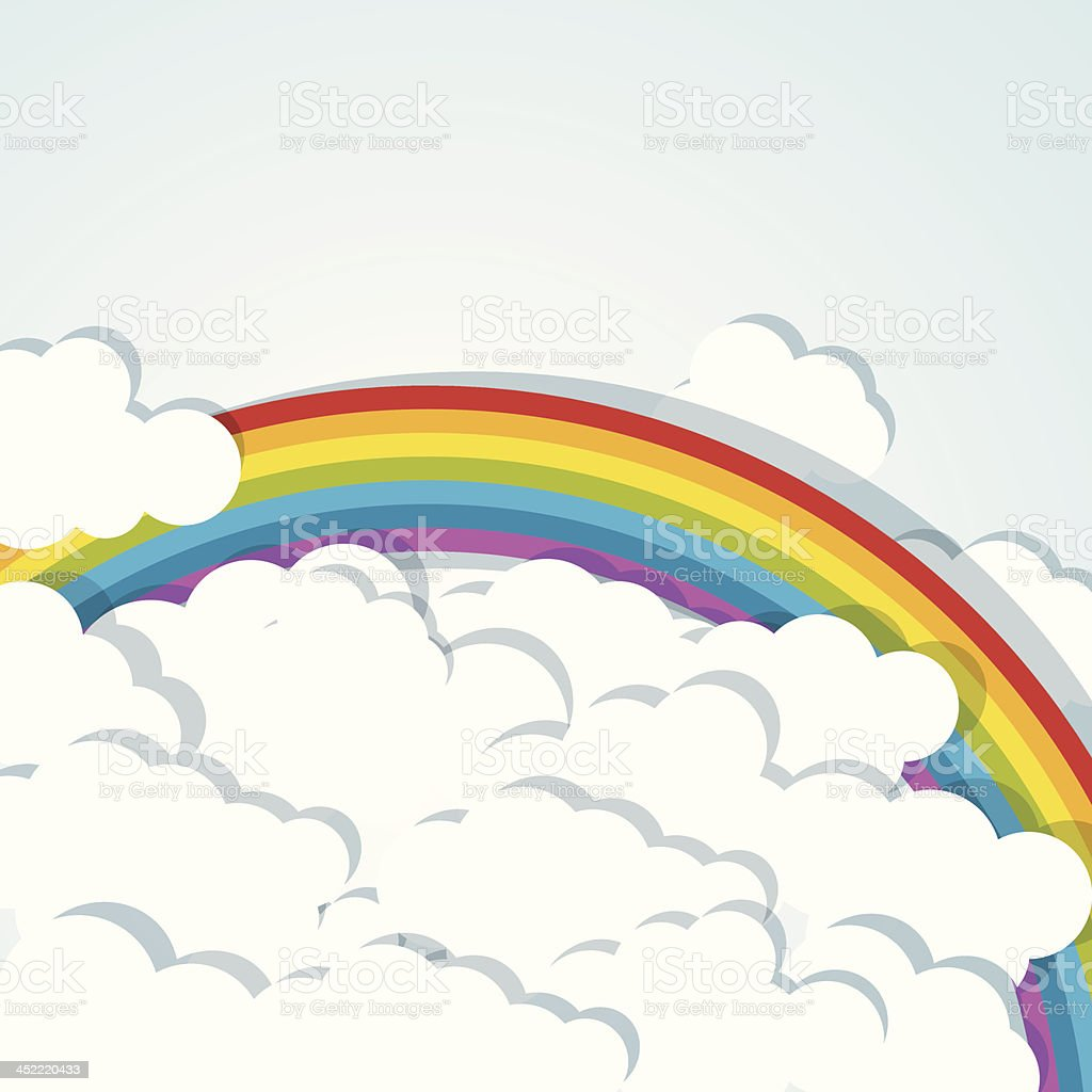 vector background with rainbow and clouds royalty-free stock vector art