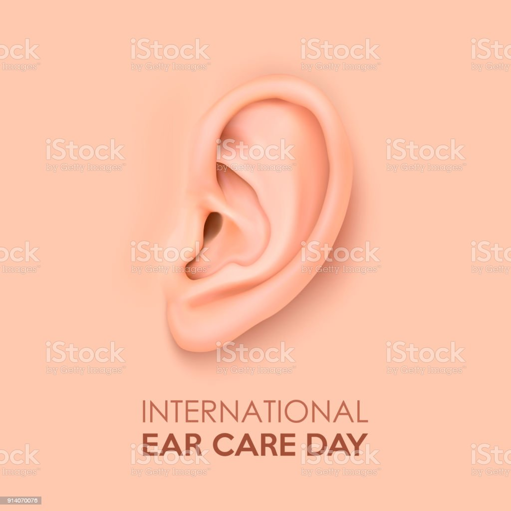 Vector Background With Realistic Human Ear Closeup International Ear ...
