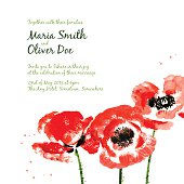 Vector background with red watercolor poppies for wedding invitation or flyer