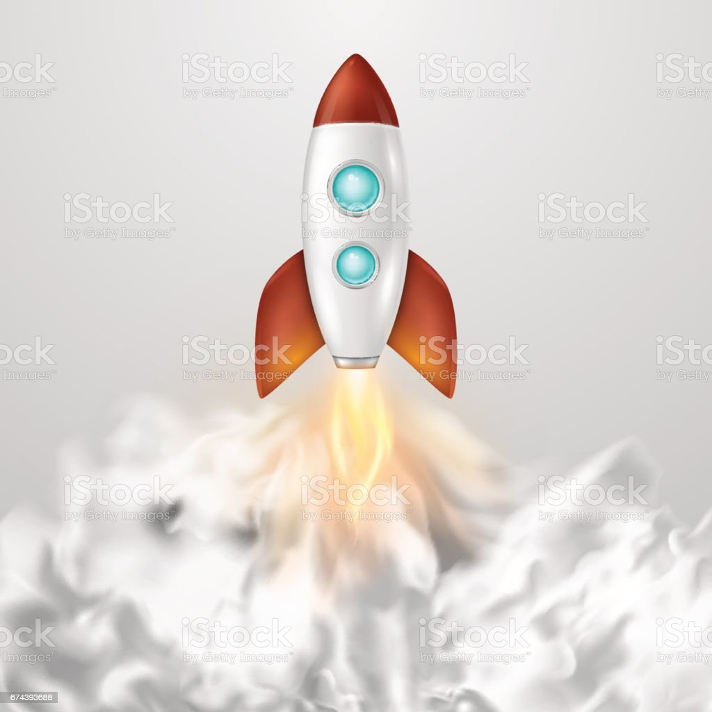 vector background with retro space rocket ship launch template for