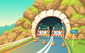 Vector background with roadwork in tunnel, highway