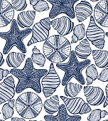 vector background with shells starfishes urchins