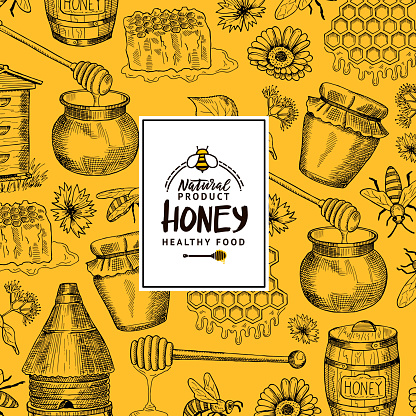 Vector background with sketched contoured honey theme elements with logo or badge for hone shop or farm