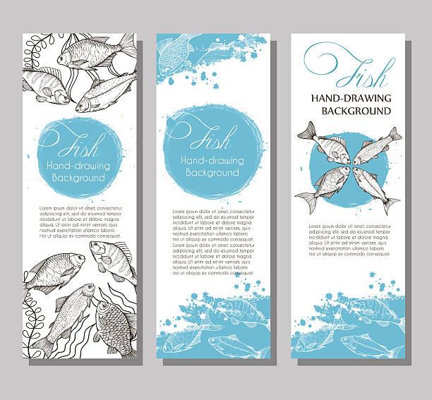 ilustrações de stock, clip art, desenhos animados e ícones de vector background with sketches - aquacultura
