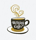 Vector background with space and cup with lettering 'Morning coffee'.
