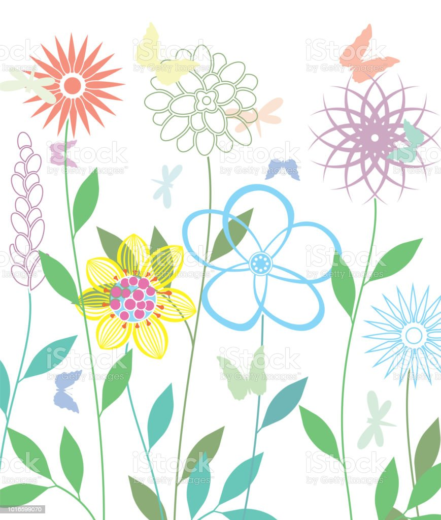 Vector Background With Spring Flowers Stock Vector Art More Images