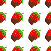 Vector Background with Strawberry in Chocolate. Pattern with Strawberry in Chocolate. Texture with Strawberry in Chocolate