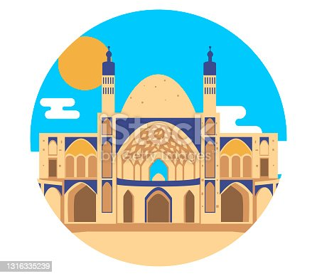 Vector background with the abstract image of the big beautiful mosque. City landscape.