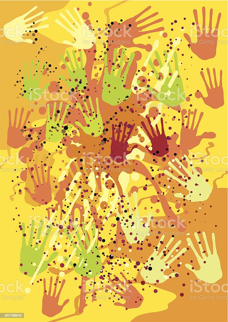 Vector background with the hand prints royalty-free stock vector art