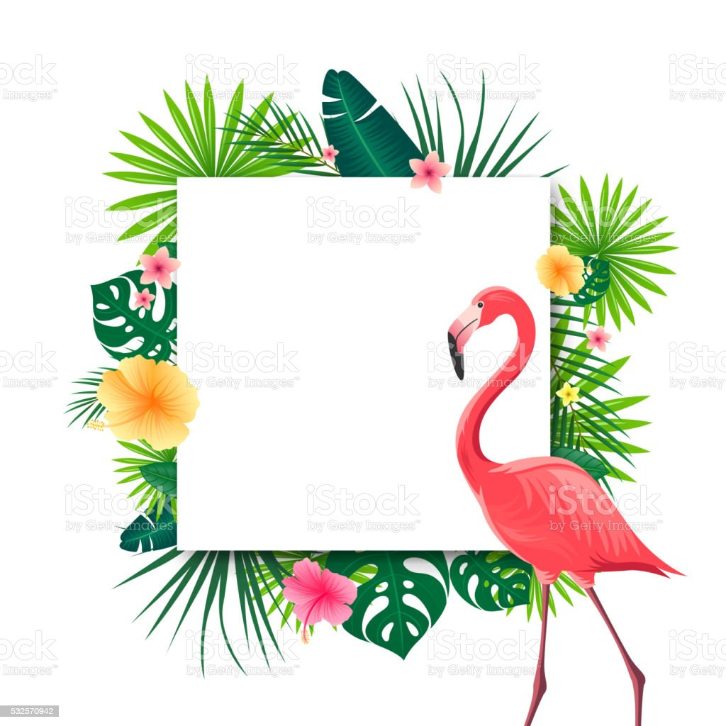 vector background with tropical leaves flowers and a flamingo vector id532570942