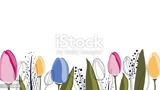 Vector background with tulips and leaves in trendy colors, isolated on white. Simple flat style.