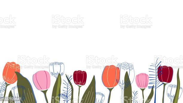 Vector background with tulips and leaves vector id1127123541?b=1&k=6&m=1127123541&s=612x612&h=e9mjl3a4amuw w1ppcgqskq6 tfgno2byqgiqhpgh2e=
