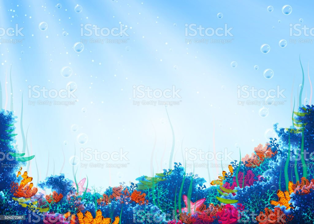 Vector background with underwater cave vector art illustration