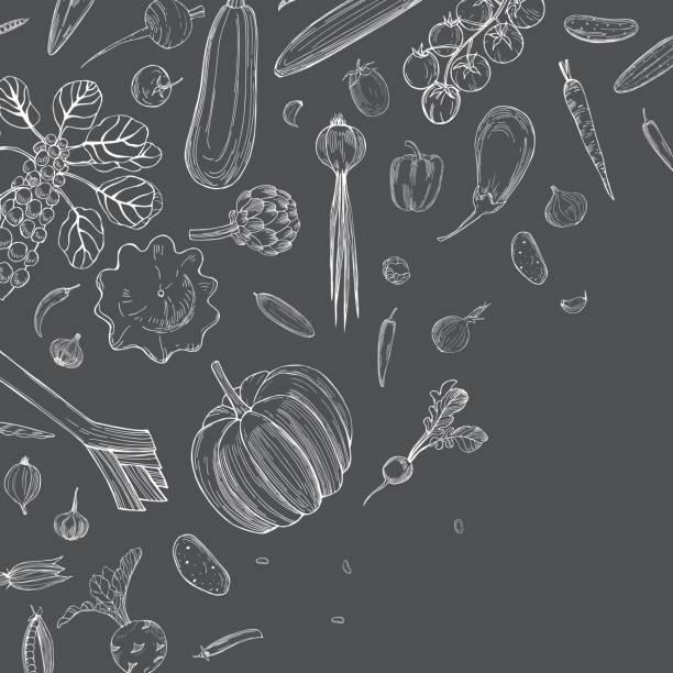 stockillustraties, clipart, cartoons en iconen met vectorachtergrond met groenten. - kruisbloemenfamilie