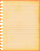 Vector background.Grunge lined paper sheet. Vertical. The vertical margin line on the sheet is red coloured triple line and the rest are faded blue single lines. grunge at the sides and corners gives it a vignetted effect. Letter - Document, Document, Single Object, Note Pad, Lined Paper. The left side is punched for spiral binding.