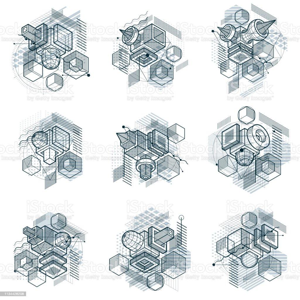 Fondos vectoriales con líneas y figuras isométricas abstractas. Plantillas hechas con cubos, hexágonos, cuadrados, rectángulos y diferentes elementos abstractos. Conjunto de vectores. - ilustración de arte vectorial