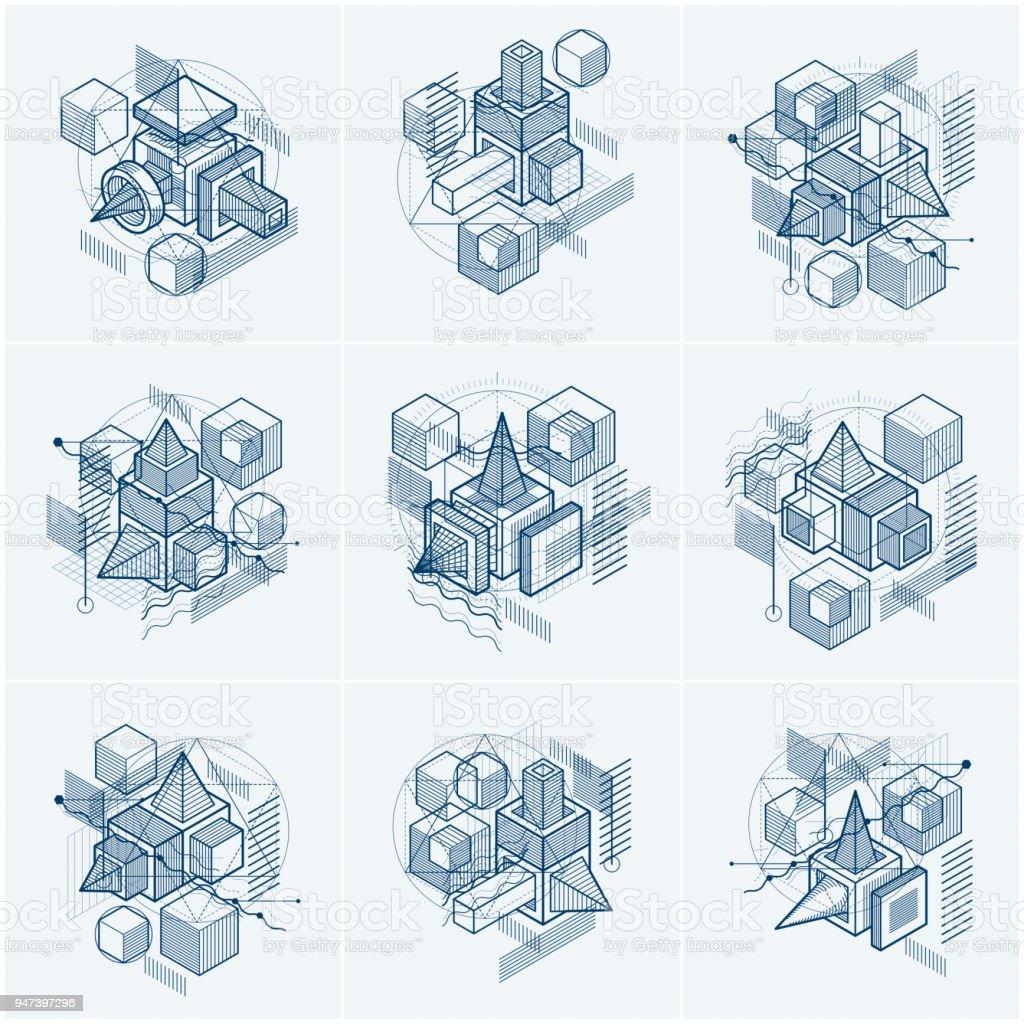 Fondos de vector con líneas isométricas abstractas y figuras. Plantillas hechas con cubos, hexágonos, cuadrados, rectángulos y diferentes elementos abstractos. Conjunto de vectores. - ilustración de arte vectorial