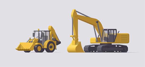 Vector backhoe loader tractor & excavator. Isolated illustration