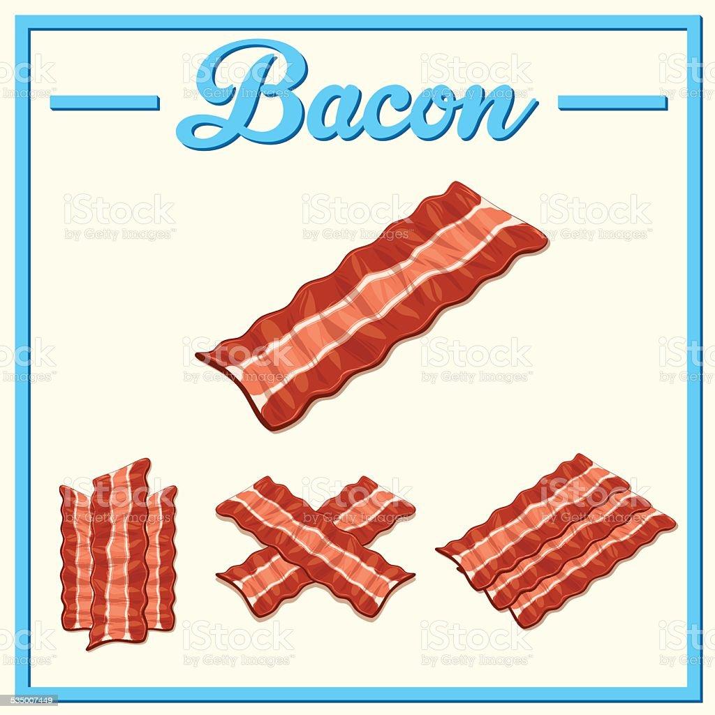 Vector bacon set.Hand drawn bacon. vector art illustration
