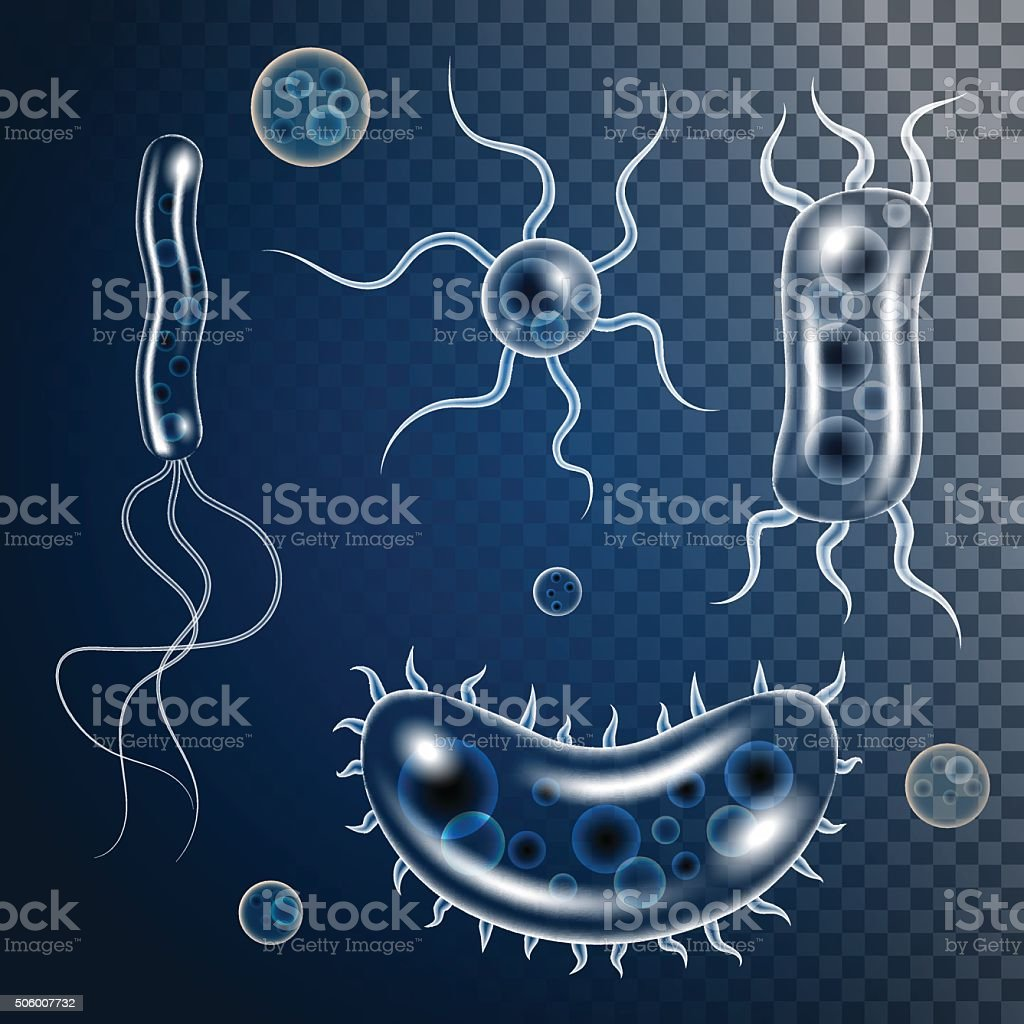 Vector bacteria, microbes icon set vector art illustration
