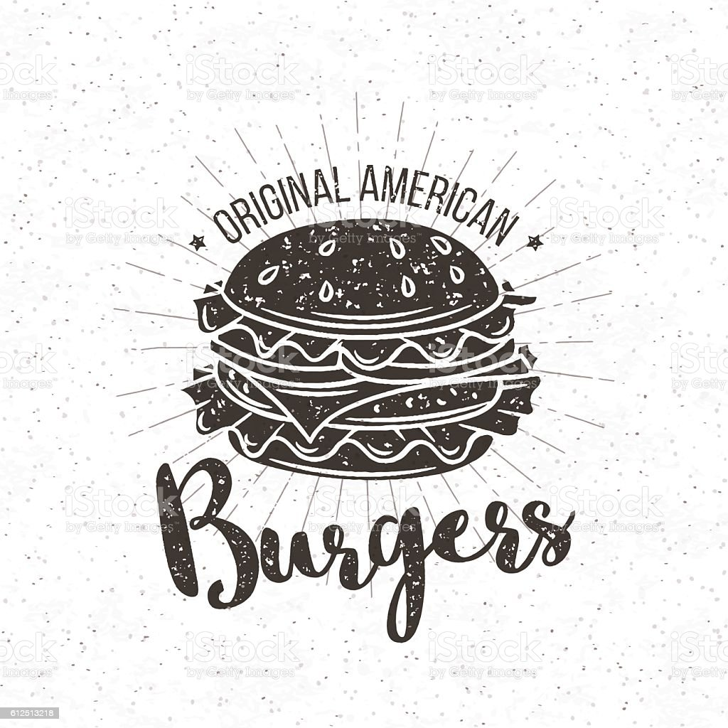 Vector badge burger - ilustración de arte vectorial
