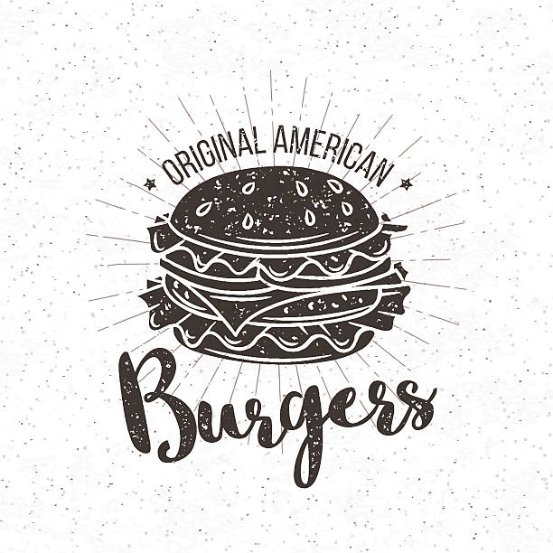 vector badge burger - burgers stock illustrations, clip art, cartoons, & icons