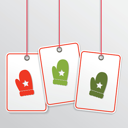 Vector Badge Label With Christmas Mittens Icon