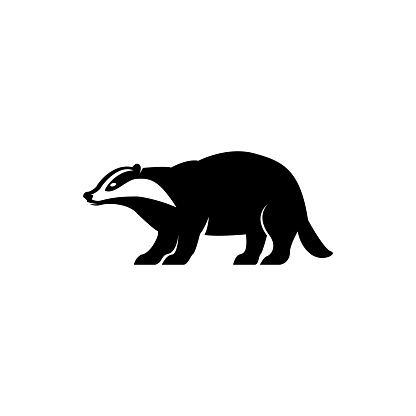 Vector badger silhouette view side for retro symbols, emblems, badges, labels template vintage design element. Isolated on white background