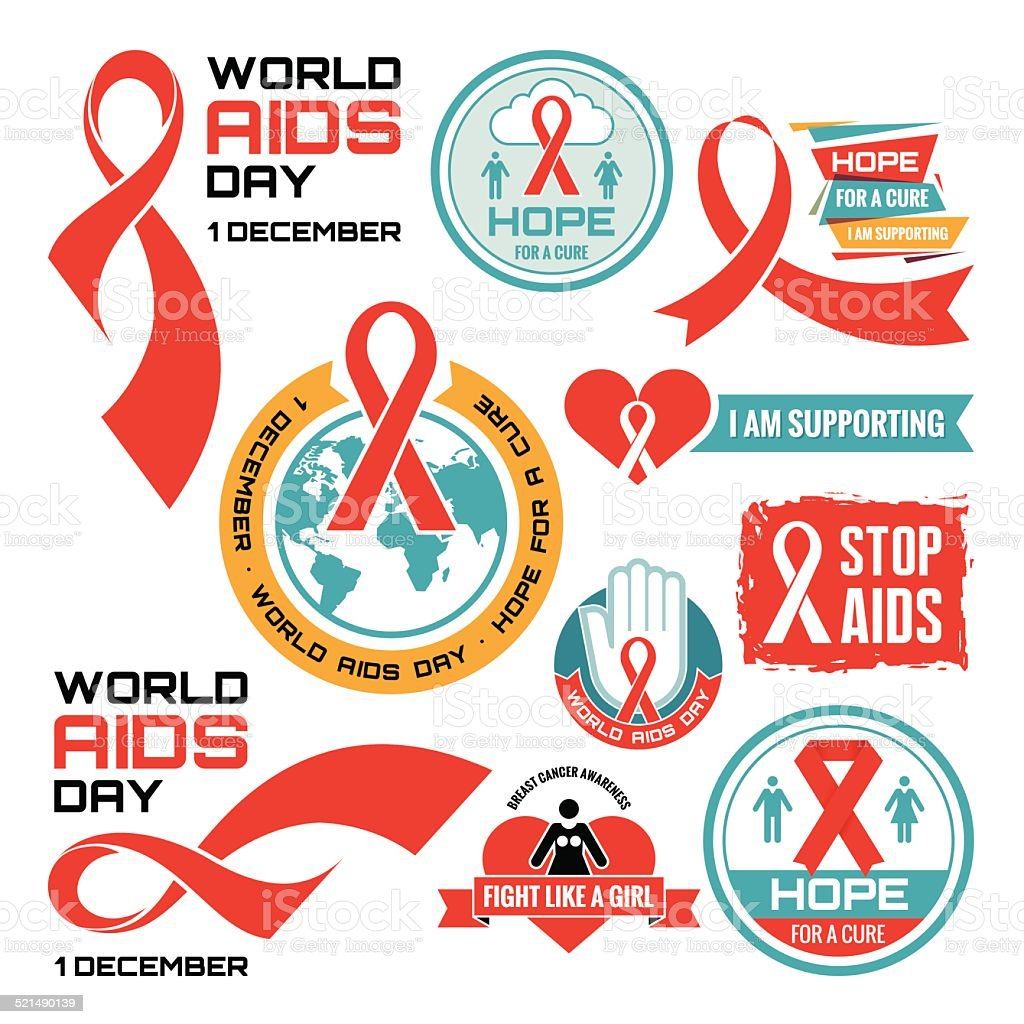 AIDS - vector badges collection. AIDS logos set. vector art illustration