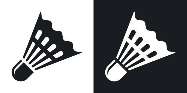 vector badminton shuttlecock icon. - badminton stock-grafiken, -clipart, -cartoons und -symbole