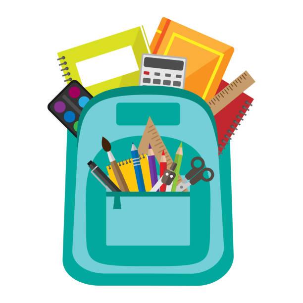 stockillustraties, clipart, cartoons en iconen met vector tas met school briefpapier - schooltas