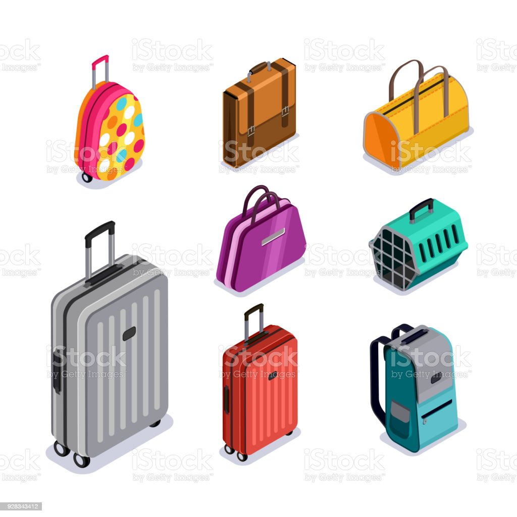 Vector baggage isolated 3d isometric style icons. Multicolor luggage, suitcase, bags, backpack, carrying animals. Vector baggage isolated 3d isometric style icons. Multicolor luggage, suitcase, bags, backpack, carrying animals. Checked baggage, carry-on and hand luggage for traveling by aircraft. Backpack stock vector