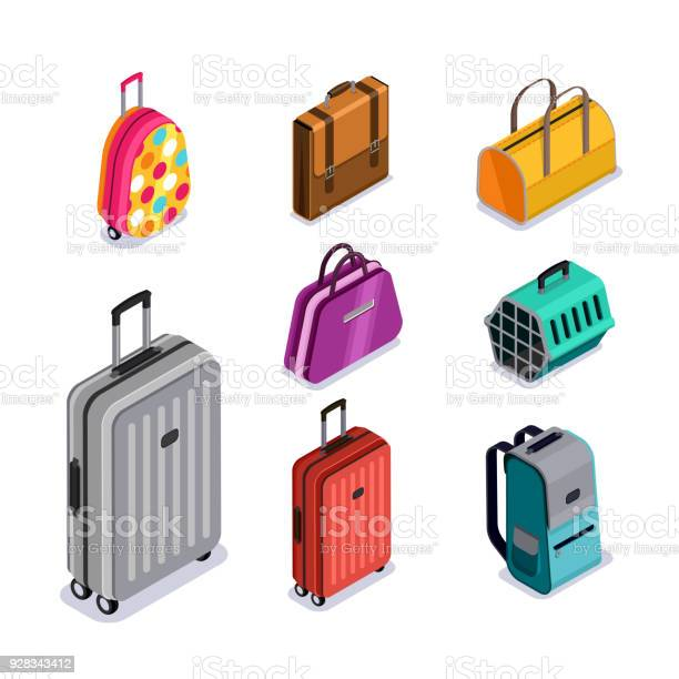 Vector Baggage Isolated 3d Isometric Style Icons Multicolor Luggage Suitcase Bags Backpack Carrying Animals Stock Illustration - Download Image Now