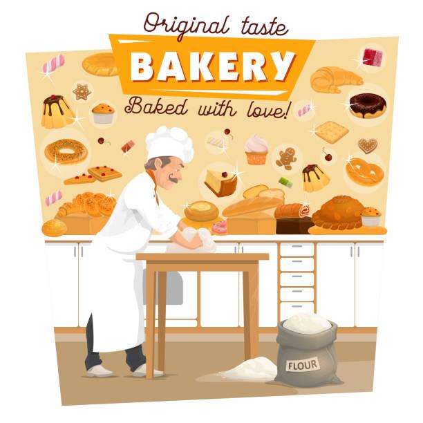 illustrazioni stock, clip art, cartoni animati e icone di tendenza di vector baker knead dough at bakery kitchen - impastare