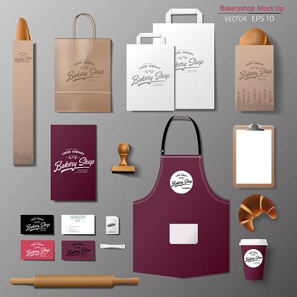 Vector bakery corporate branding identity template design set.