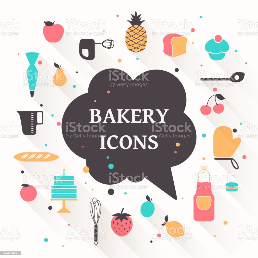 Vector Bakery Icons vector art illustration