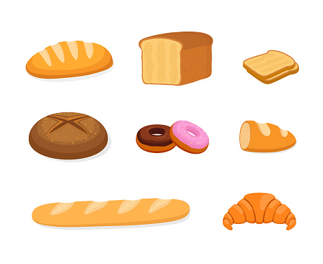 Vector bakery set - bun, rye and cereal bread