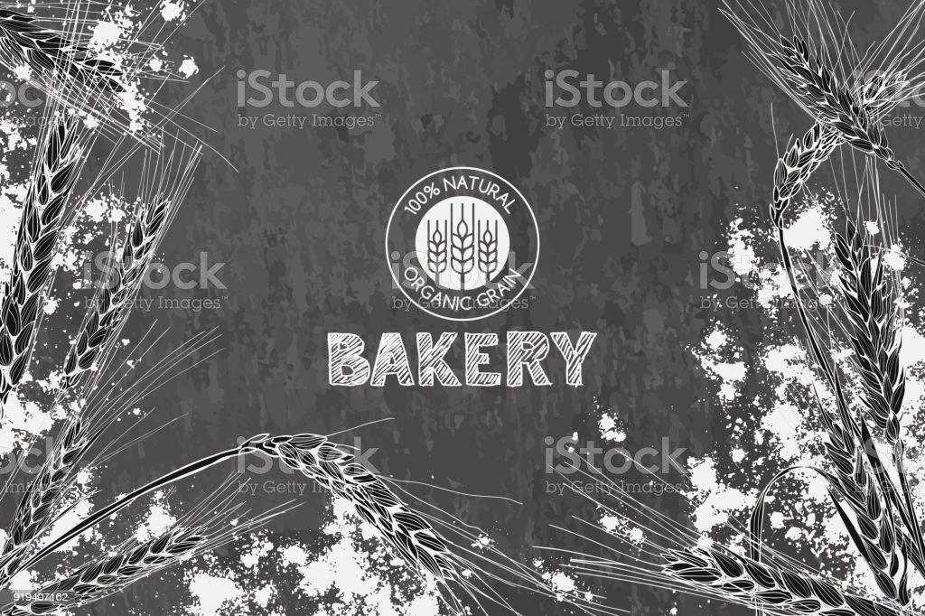 Design vectoriel boulangerie fond vintage. Concept pour le menu de la boulangerie, farine bio, produits de grains et de céréales. - Illustration vectorielle