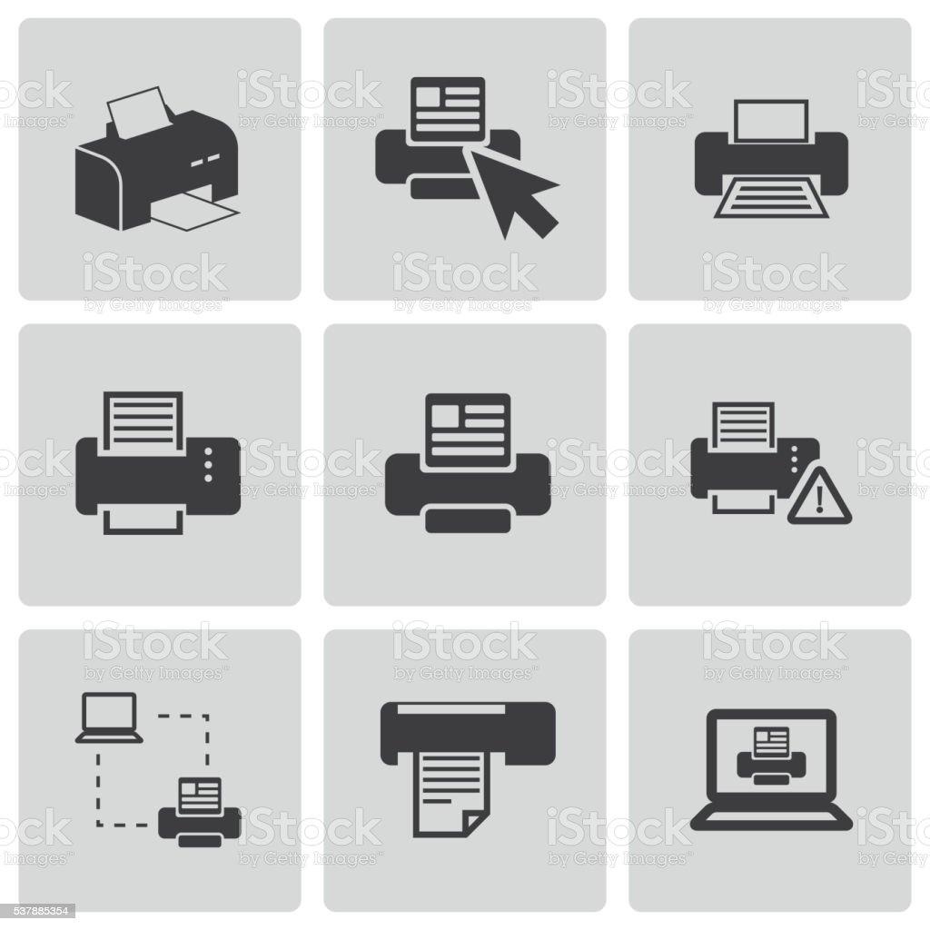 Vector balck printer icons set vector art illustration