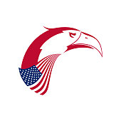 Vector Bald Eagle's Head Emblem. Stylized Symbol of United States. American Eagle and American Flag