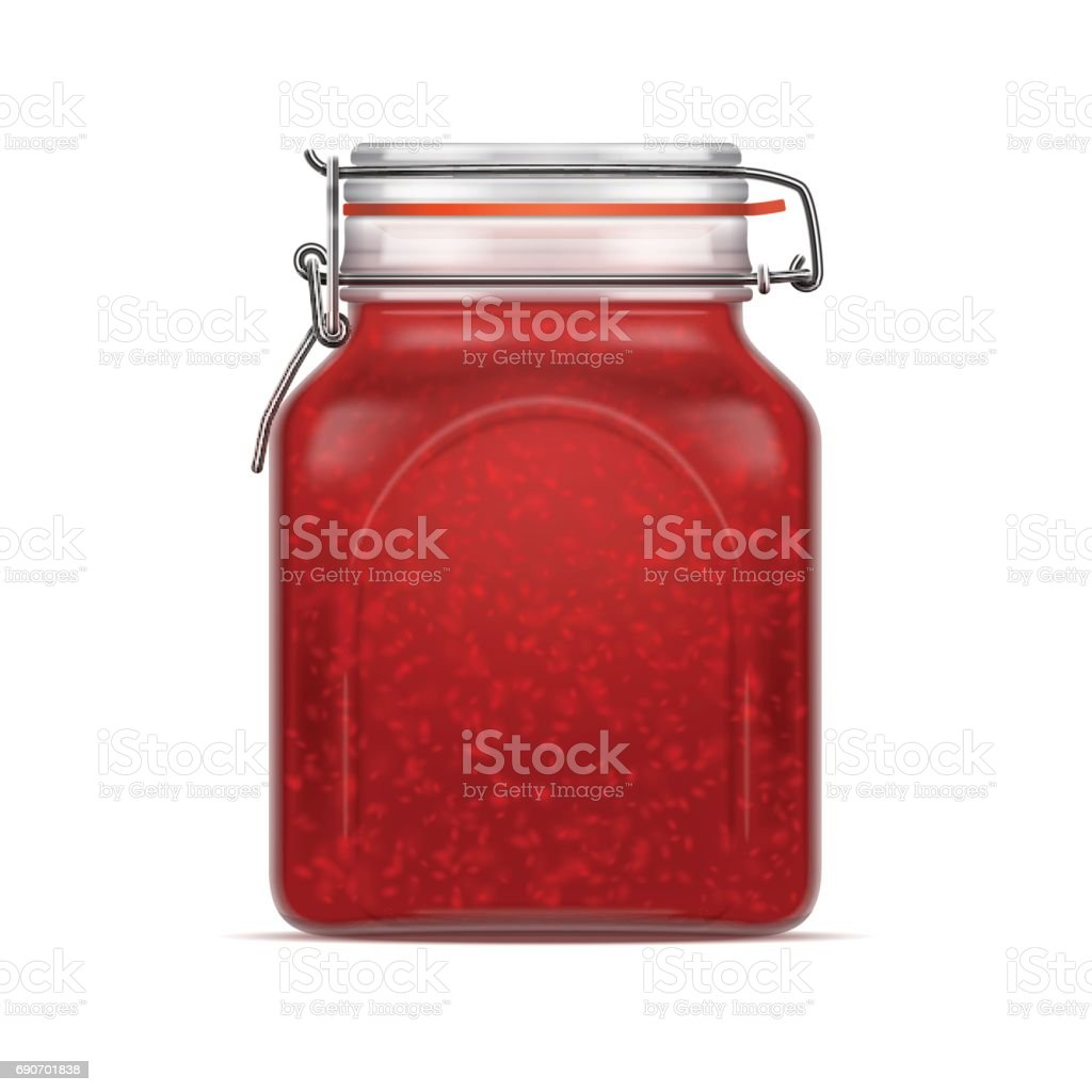 Vector Bale Square Glass Jar with Swing Top Lid filled with berry jam isolated over the white background. vector art illustration