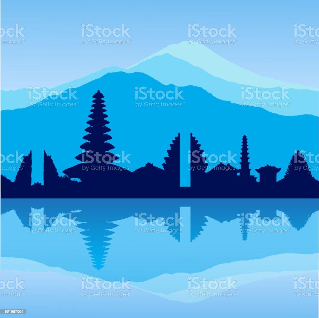 Vector Bali skyline vector art illustration