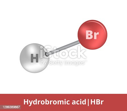 istock Vector ball-and-stick icon of hydrobromic acid or hydrogen bromide HBr structure consisting of bromine and hydrogen. Structural formula suitable for education isolated on a white background. 1286389867