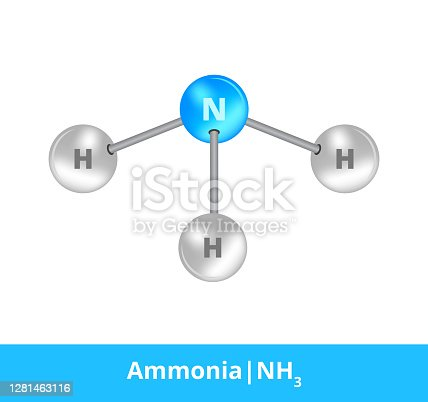 Illustration of the organic formula of ammonia or sal ammoniac, colorless, and pungent gas element. Toxic and dangerous substance. Icon of NH3 whose molecule consists of three atoms of hydrogen and one atom of nitrogen. The molecule is suitable for education or science and is isolated on a white background.