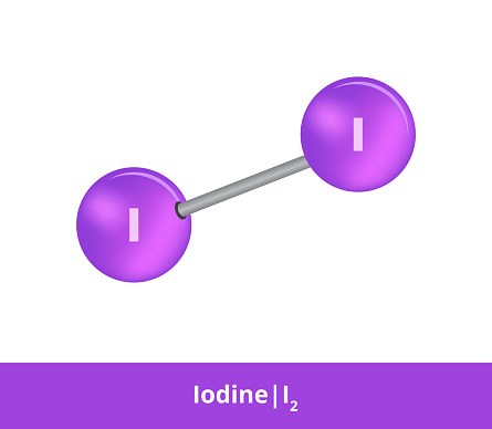 Vector ball-and-stick model of chemical substance. Purple icon of iodine molecule I2 with one single bond. Structural formula of iodine is suitable for education and isolated on a white backgroud.